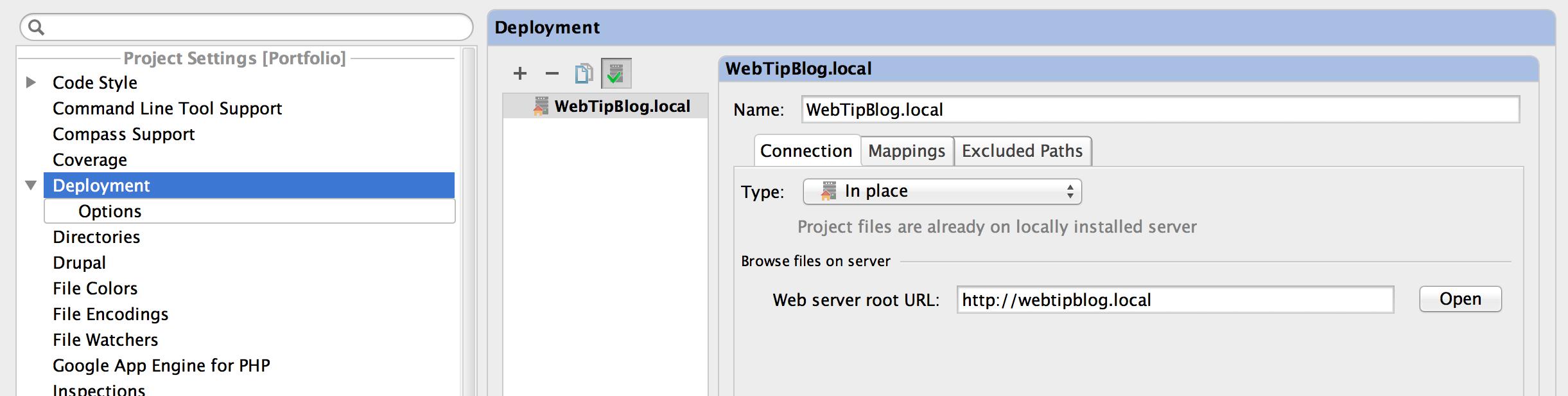 PHPStorm Add Deployment Server