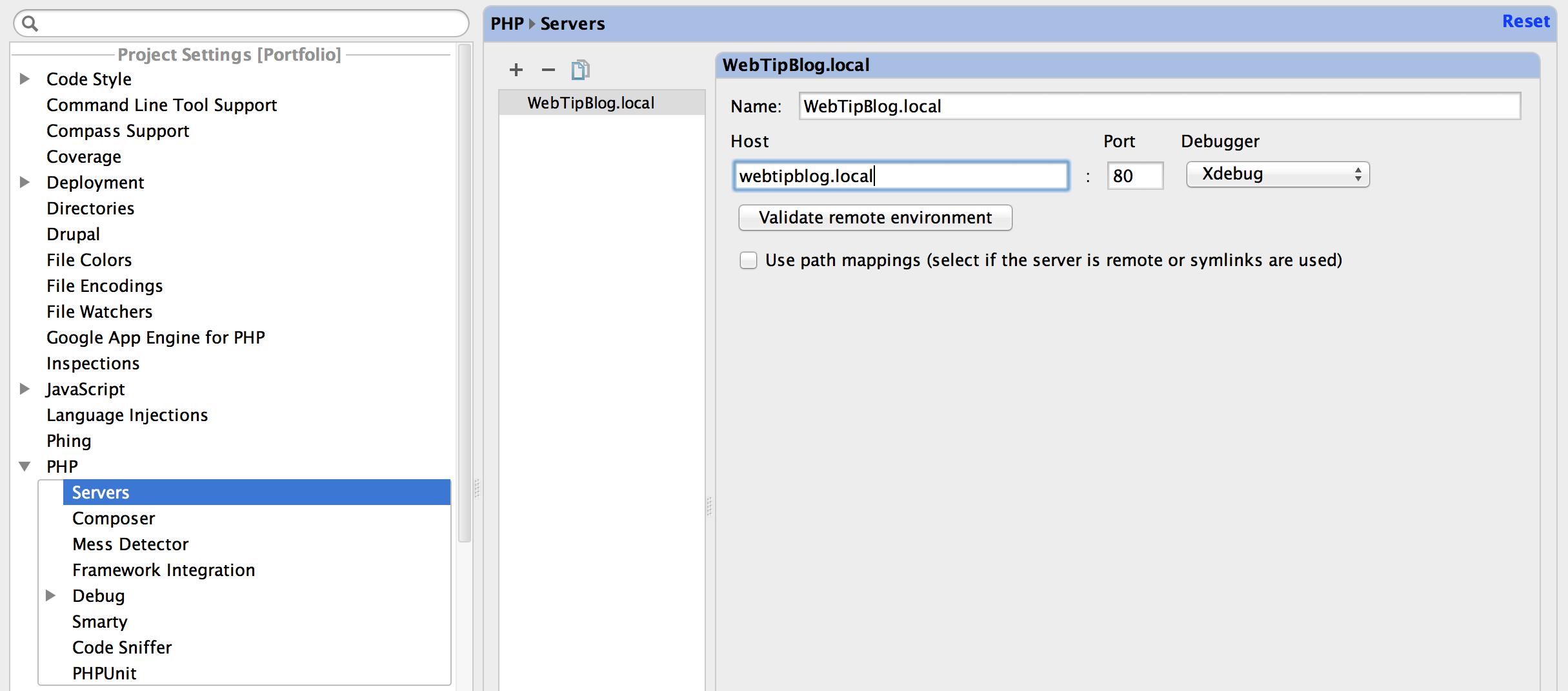 PHPStorm Add PHP Server
